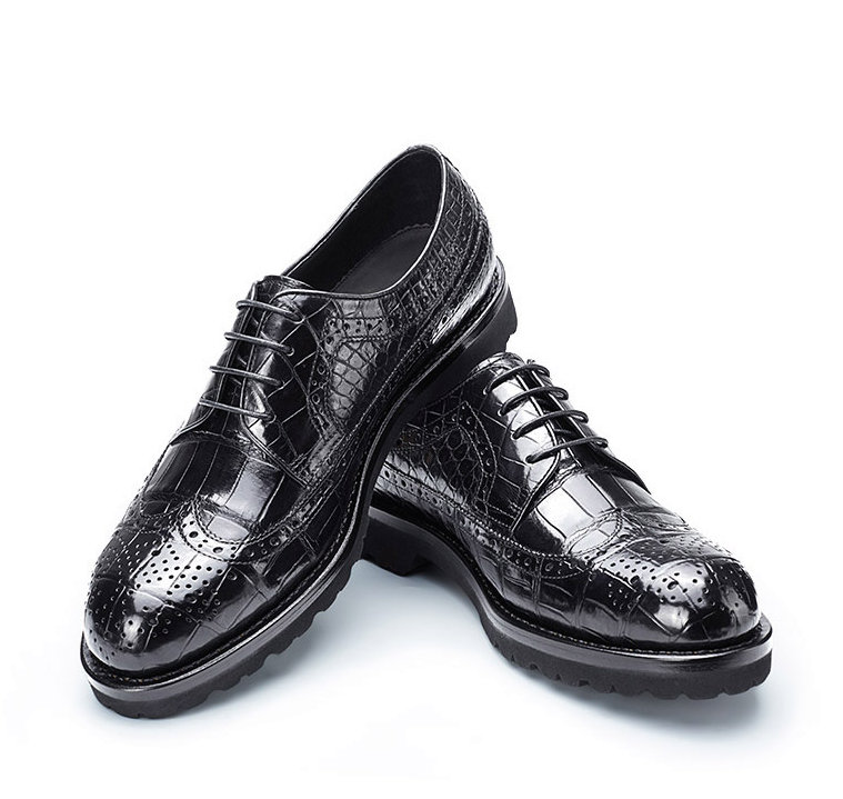 Alligator Lace Up Wing Tip Oxfords, Handmade Alligator Shoes-1