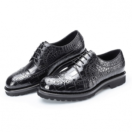 Alligator Lace Up Wing Tip Oxfords, Handmade Alligator Shoes-2