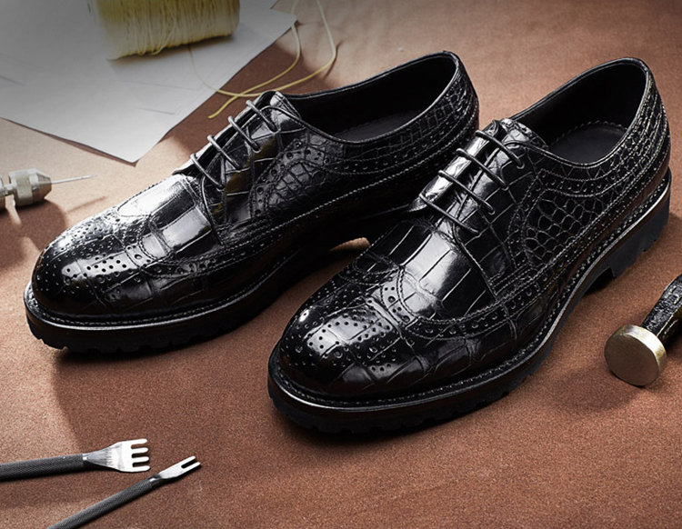 Alligator Lace Up Wing Tip Oxfords, Handmade Alligator Shoes-Exhibition