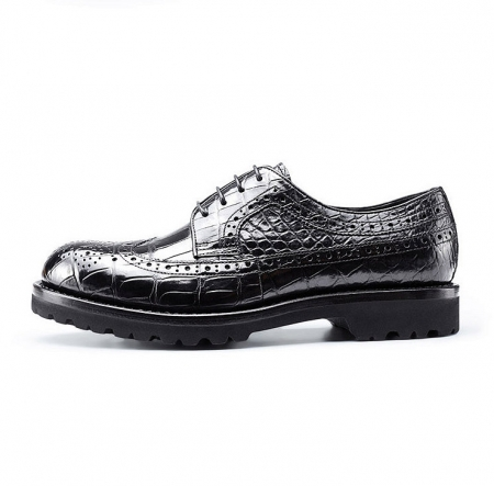 Alligator Lace Up Wing Tip Oxfords, Handmade Alligator Shoes-Side