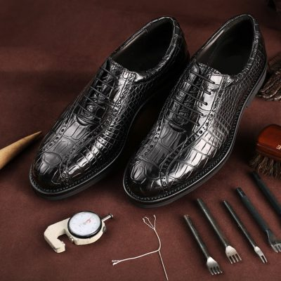 Alligator Lace up Oxford Dress Shoes-Exhibition