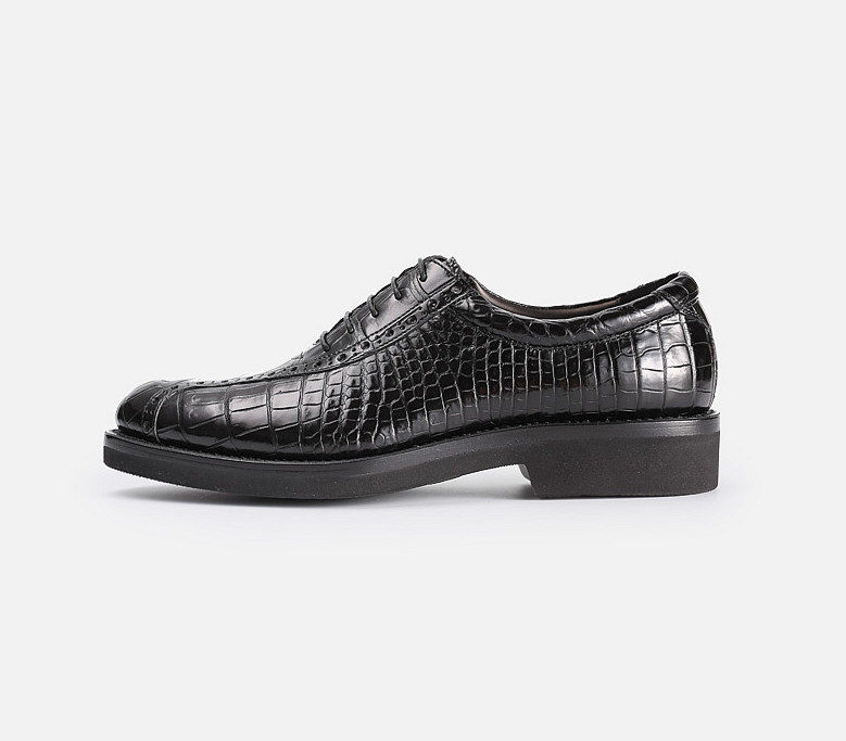 Alligator Lace up Oxford Dress Shoes-Side