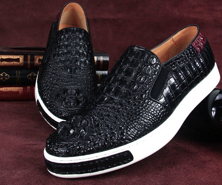 Black Crocodile Sneakers, Casual Crocodile Shoes for Men-3