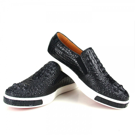 Black Crocodile Sneakers, Casual Crocodile Shoes for Men