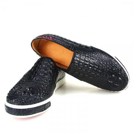 Black Crocodile Sneakers, Casual Crocodile Shoes for Men-Exhibition-1