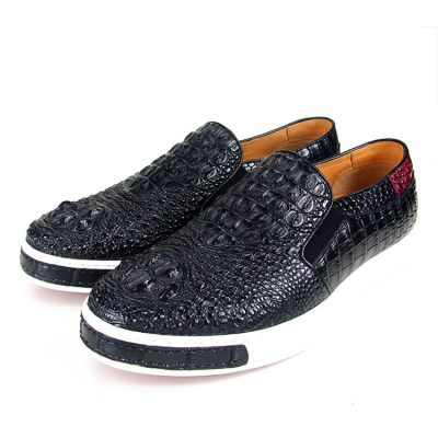 Black Crocodile Sneakers, Casual Crocodile Shoes for Men-Exhibition-2