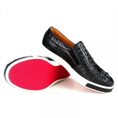 Black Crocodile Sneakers, Casual Crocodile Shoes for Men-Exhibition
