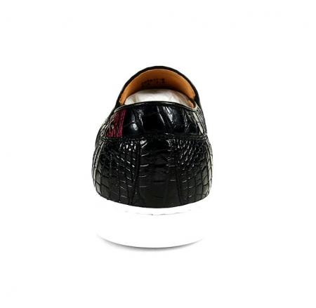 Black Crocodile Sneakers, Casual Crocodile Shoes for Men-Heel