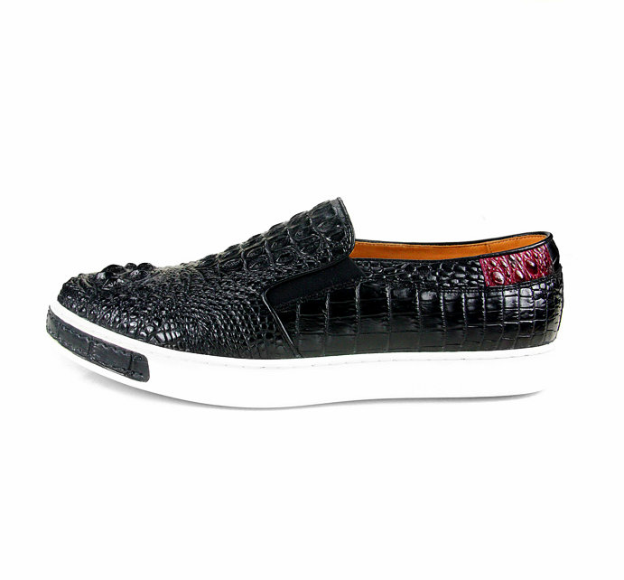 Black Crocodile Sneakers, Casual Crocodile Shoes for Men-Side