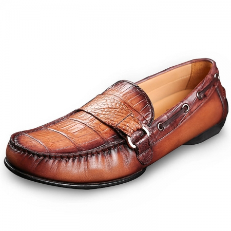 Brown Alligator Slip-on Loafer