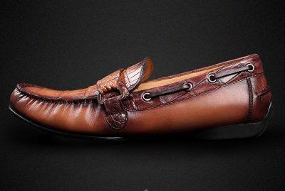 Brown Alligator Slip-on Loafer-Side