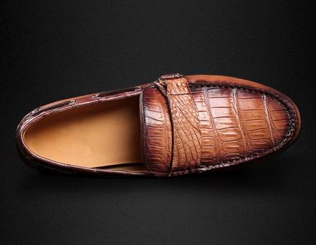 Brown Alligator Slip-on Loafer-Upper