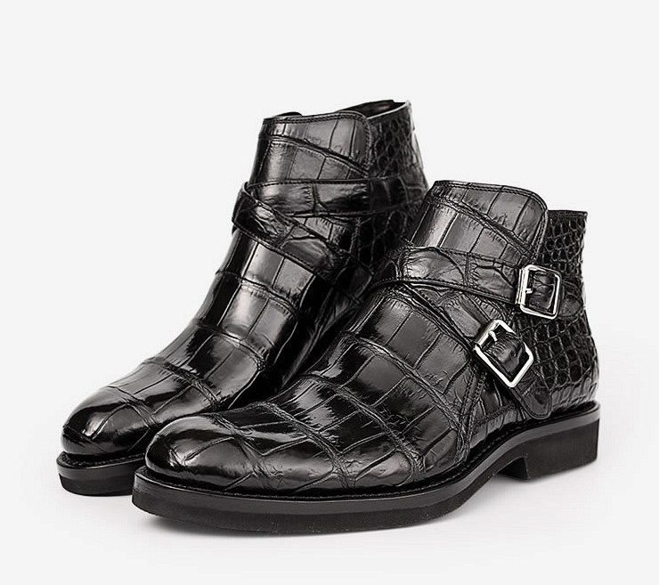 Casual Alligator Dress Boots with Buckles-Exhibition