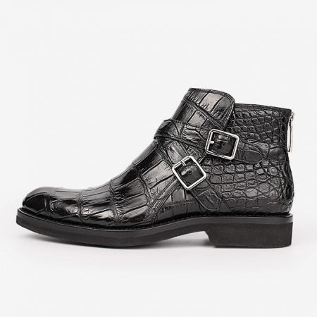 Casual Alligator Dress Boots with Buckles-Side