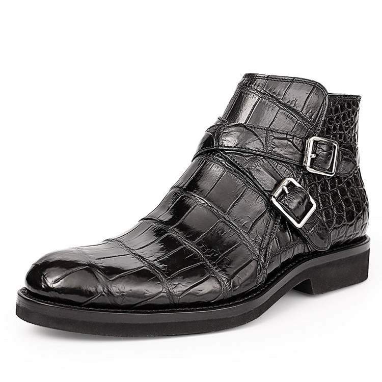 Casual Alligator Dress Boots with Buckles
