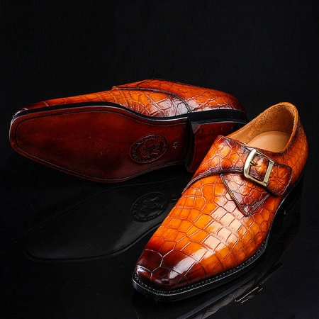 Casual Alligator Skin Single Monk Strap Dress Shoes-2