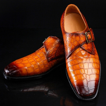 Casual Alligator Skin Single Monk Strap Dress Shoes