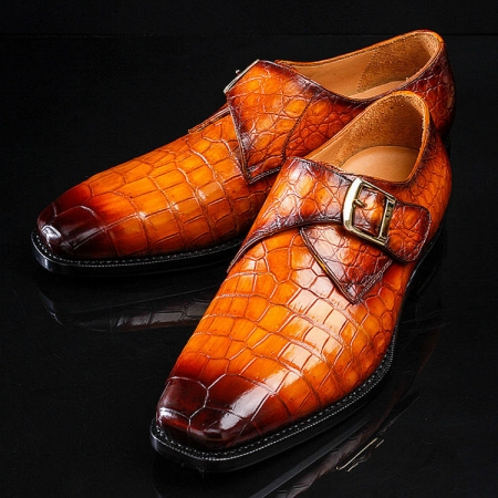 Casual Alligator Skin Single Monk Strap Dress Shoes-Exhibition