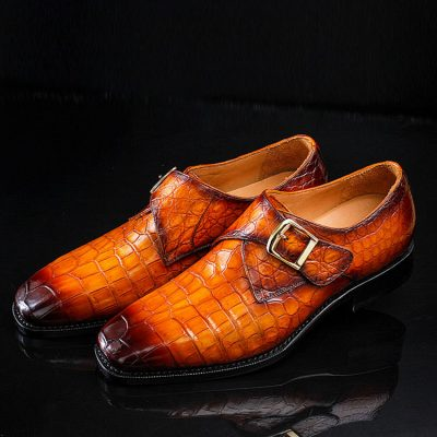 Casual Alligator Skin Single Monk Strap Dress Shoes-Exhibitions