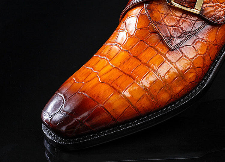 Casual Alligator Skin Single Monk Strap Dress Shoes-Upper
