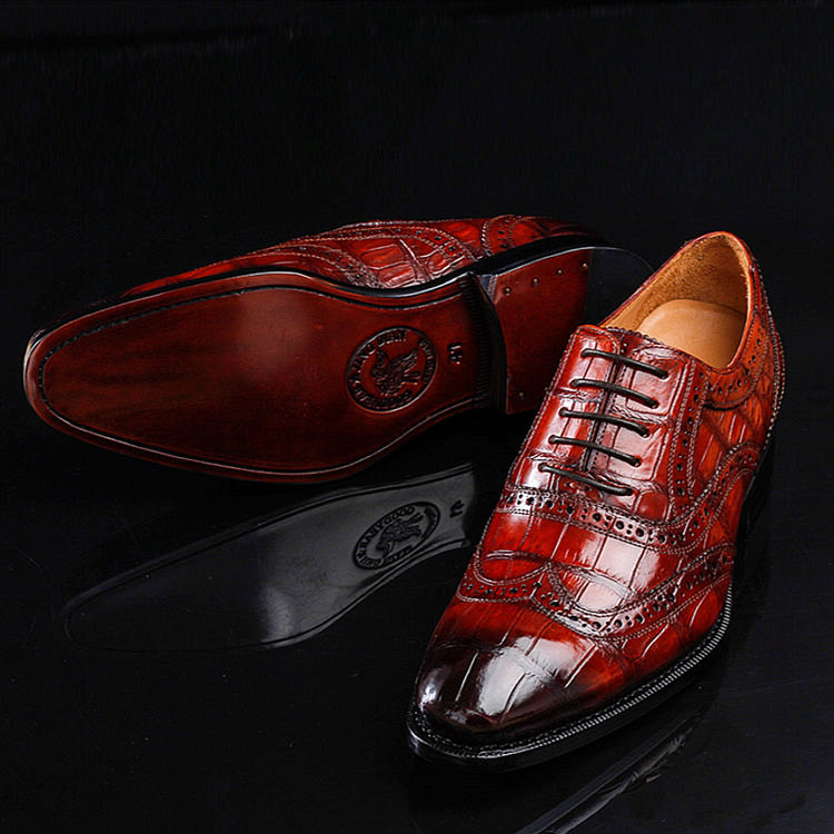 Casual Alligator Skin Wingtip Dress Shoes-1