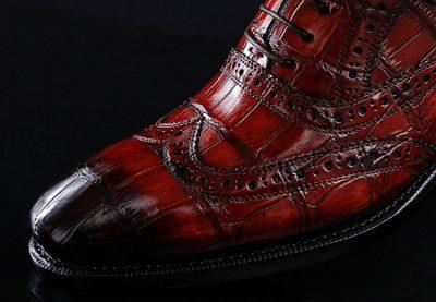 Casual Alligator Skin Wingtip Dress Shoes-Details