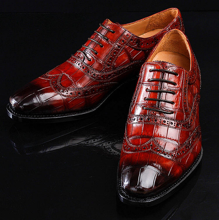 Casual Alligator Skin Wingtip Dress Shoes-Exhibition