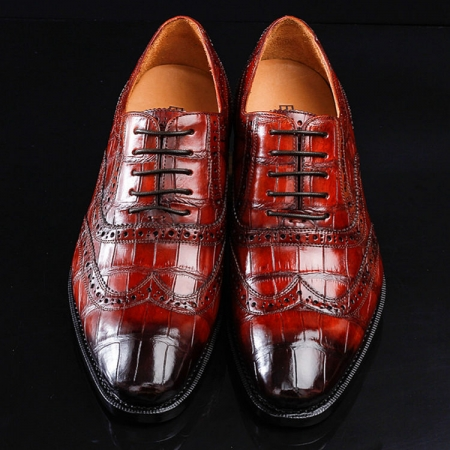 Casual Alligator Skin Wingtip Dress Shoes-Upper