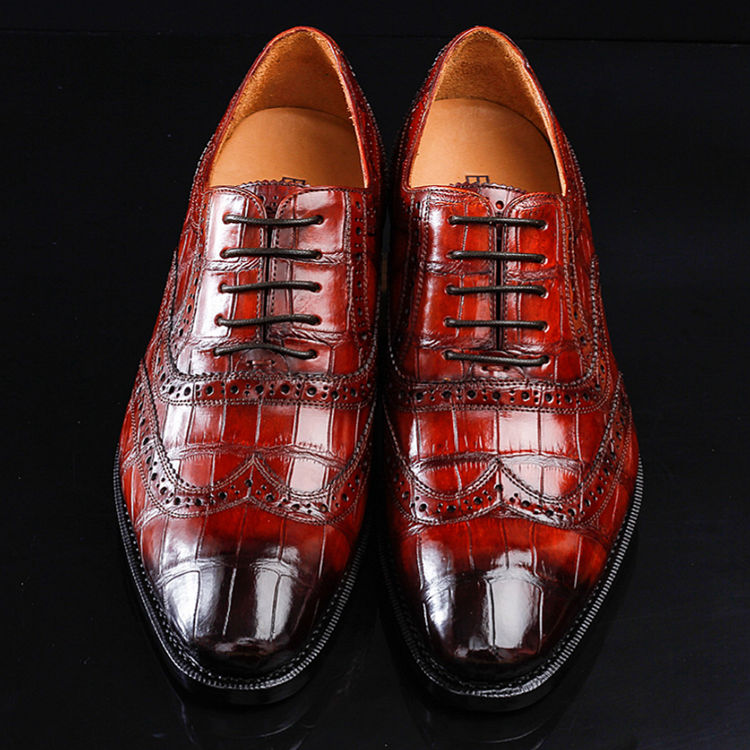 676d41bd56d Casual Alligator Skin Wingtip Dress Shoes