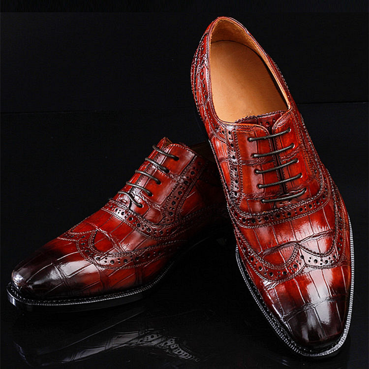 Casual Alligator Skin Wingtip Dress Shoes
