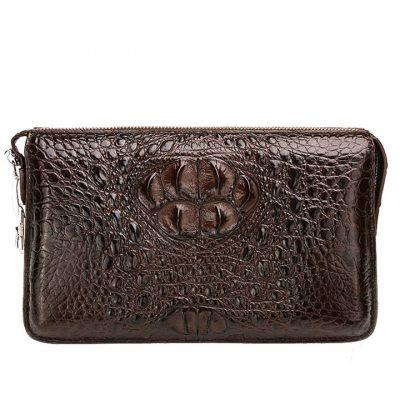 Casual Crocodile Anti-theft Lock Wallet for Men-Brown