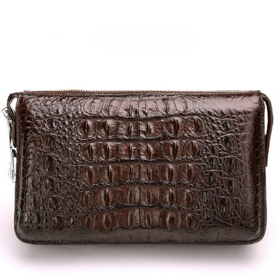 Casual Crocodile Anti-theft Lock Wallet for Men-Brown-Back