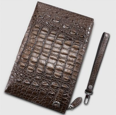 Casual Large Crocodile Clutch Wallet-Back-Brown