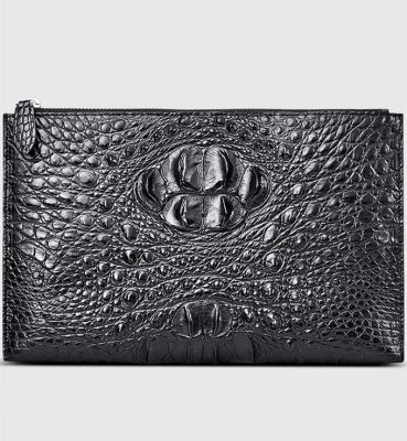 Casual Large Crocodile Clutch Wallet-Black-Front