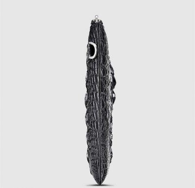 Casual Large Crocodile Clutch Wallet-Black-Side