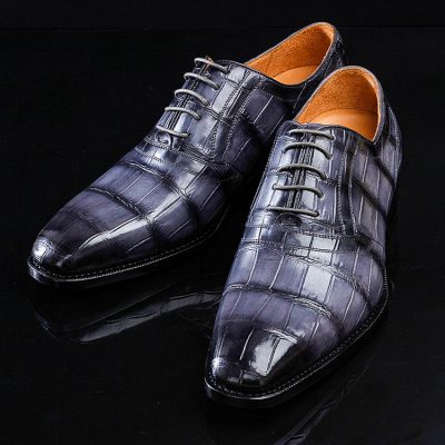 Casual Navy Blue Handmade Alligator Skin Shoes-1