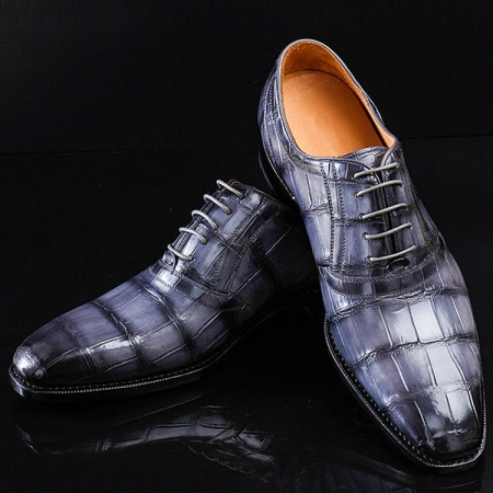 Casual Navy Blue Handmade Alligator Skin Shoes
