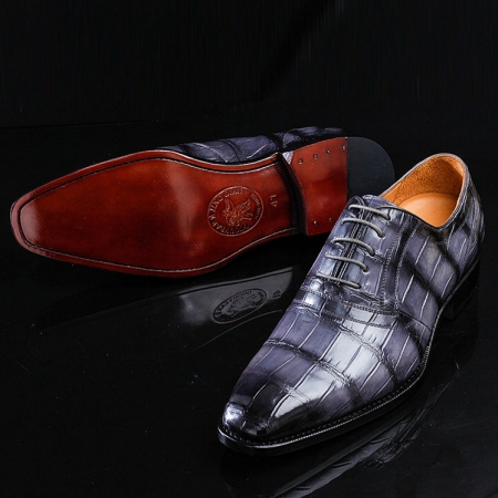 Casual Navy Blue Handmade Alligator Skin Shoes-Exhibition