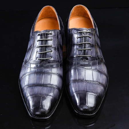 Casual Navy Blue Handmade Alligator Skin Shoes-Upper