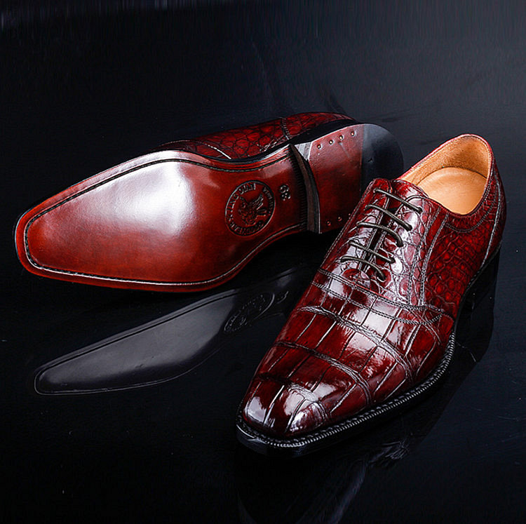 Classic Alligator Skin Lace Up Dress Shoes-Exhibition