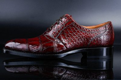 Classic Alligator Skin Lace Up Dress Shoes-Side