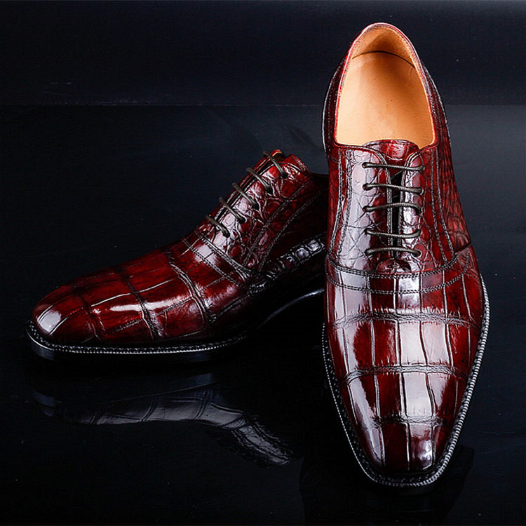Classic Alligator Skin Lace Up Dress Shoes