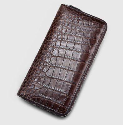 Classic Alligator Zip Around Wallet-Brown