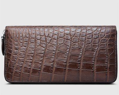 Classic Alligator Zip Around Wallet-Brown-Back