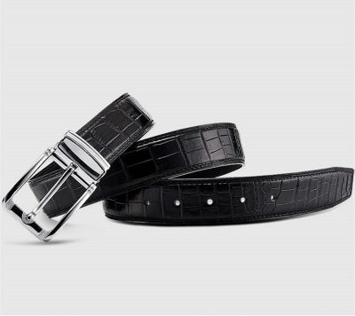Classic Genuine Alligator Skin Belt for Men - Black-1