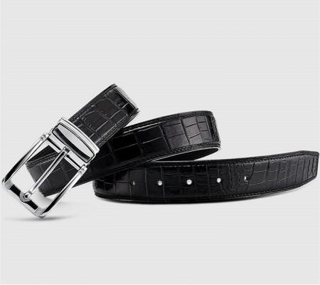 Classic Genuine Alligator Skin Belt for Men - Black-1