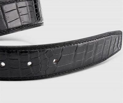 Classic Genuine Alligator Skin Belt for Men - Black-2