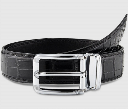 Classic Genuine Alligator Skin Belt for Men - Black - Buckle