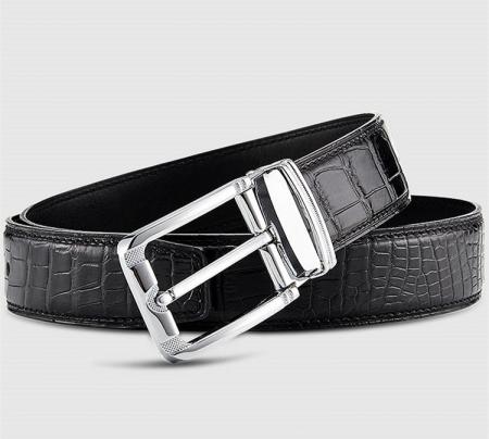 Classic Genuine Alligator Skin Belt for Men - Black - Lay
