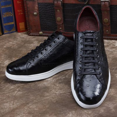 Daily Fashion Ostrich Lace-up Sneaker-Black